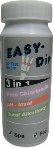Pool-I.D. 3-in-1 test strips for the measurement of pH, free Chlorine, Bromine and Alkalinity values