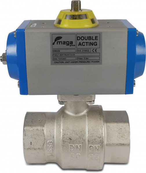 Pneumatic operated ball valve, type single acting